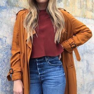 Zara Cropped Long Sleeve Blouse Rust
